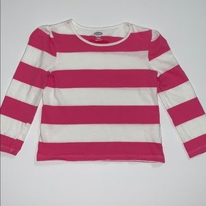 Old Navy Girl's Long Sleeve Pink and White Top, 2T